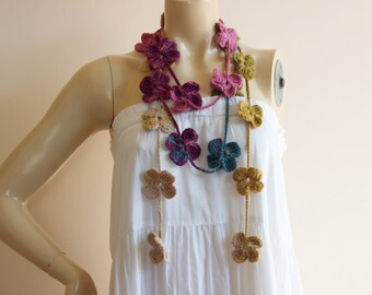 Flower Necklace Scarf-Multicolor Lariat Scarf-Earth,Green,Pink,Teal Crochet Scarf