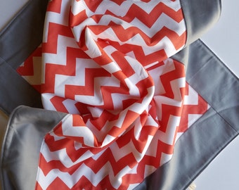Coral chevron baby blanket, fleece play mat, fleece baby blanket