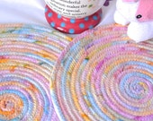 Handmade Easter Hot Pads, Easter Trivets, Pink Spring Place Mats, Mug Rugs, Pastel Pink Trivets, Easter Table Toppers