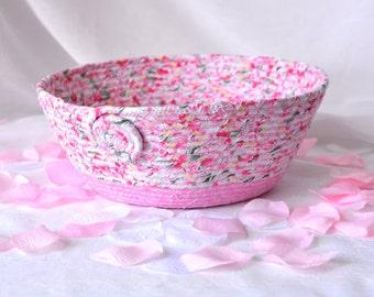 Spring Floral Basket, Handmade Pink Bowl, Pink Floral Bath Basket, Makeup Organizer, Pink coiled fabric basket