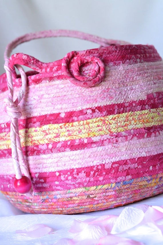 Knitting Basket, Pink Tote Bag, Handmade Coiled Basket, Fuchsia Batik Fiber Basket, Lovely Picnic Basket, Beautiful Decorative Basket