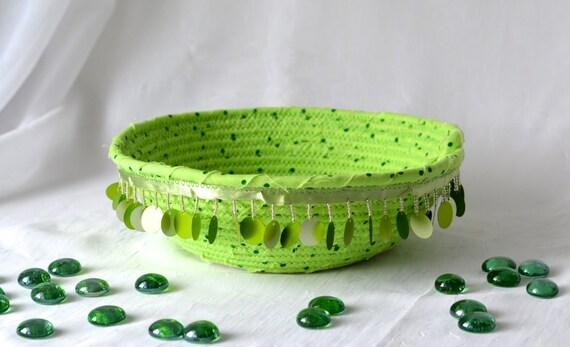 Bachelorette Party Favor, Green Bling Bowl, Handmade Trinket Basket, Cute Gift Basket, Green Catchall Basket, Ring Holder