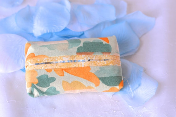 Kleenex Pocket Tissue Holder, Handmade Travel Tissue Case, Lovely Peachy Party Favor, Peach Purse Pouch