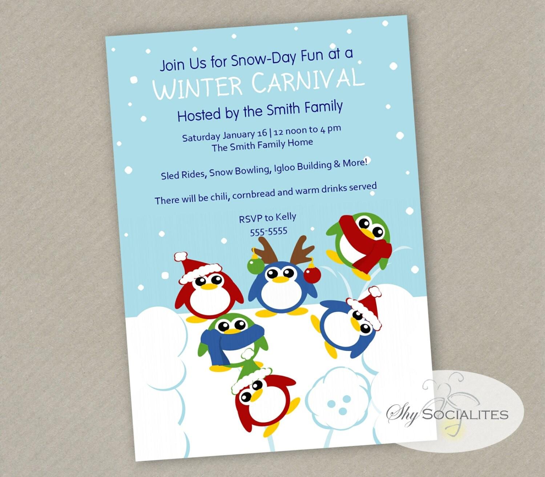 Winter Carnival Invitation Snow Day Games penguins