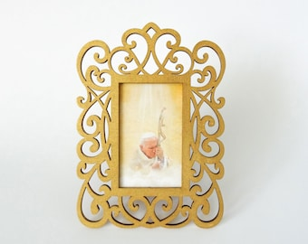 Small Saint John Paul II print in lovely hand painted frame for your altar, Keepsake, Ornament,  Holiday gift