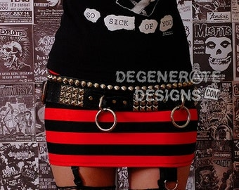 Red & Black Striped PUNK Skirt Street Punk Rock Clothing Rock n Roll Mini Skirt 80s Rocker Glam Rock Hair Metal Skirt XS - XXL