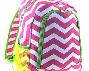 Personalized  Girls CHEVRON Backpack  PINK CHEVRON Pink and Green