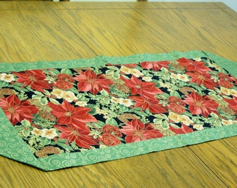 Holiday Table Runner - Elegant Poinsettia Christmas Table Runner with Gold Swirl Back - Holiday Table Runner, Classic, Table Decoration