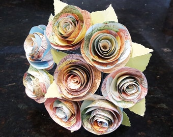 "8 3"" spiral atlas map cabbage roses bouquet alternative wedding bridal toss spring paper recycled centerpiece destination travel beach"