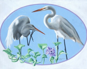Great White Egrets wildlife bird oil painting 24x36 (61 x 91.4 cm) by RUSTY RUST / E-193