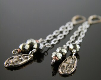Pyrite and Drops Fine Silver Earrings