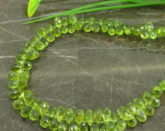 Natural Peridot 6-8mm Faceted Drops Briolette Beads / Approx 98 pieces on 9 Inch long strand / JBC-ET-148327