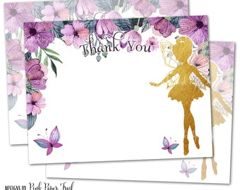 Flower Fairy Thank You Card, Instant Download, Print Your Own