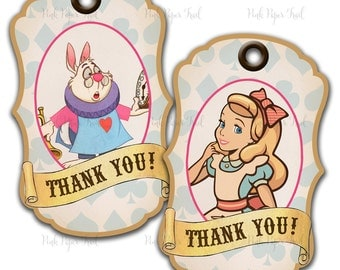 Alice in Wonderland Thank You Tag, Alice Favor Tags, Four Different Tags, Instant Download, Your Own