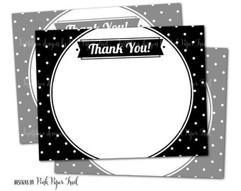 Black and White Polka Dot Thank You Card, Black and White Party, Polka Dot Party, Instant Download, Print your own