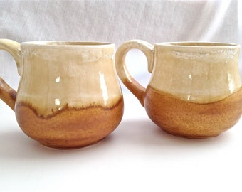 Ceramic Stoneware Coffee and Tea Mug in Amber and Camel Glaze