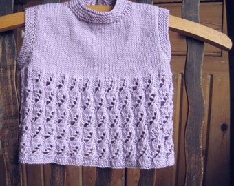 Hand knitted baby smock top, REDUCED for Christmas, vest, proceeds to charity bamboo and cotton, 3-6 months approx.