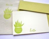 Hello Succulent Letterpress Cards with Muslin Sack Golden Green