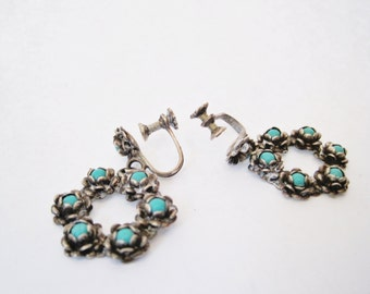 Vintage Mexico Earrings, Silver and Turquoise,  Screw Back Earrings, Dangle Earrings, Mexican Jewelry