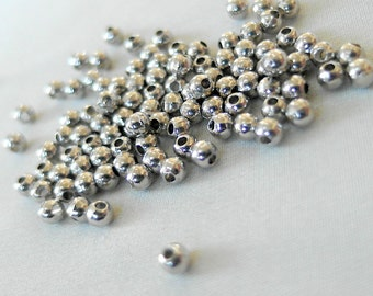 100 Simple Silver Spacer Beads, 3mm x3mm round, 1mm hole,  pkg 100 pieces