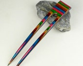 Reserved for Happycrafting  Two 2  Prong Hair Fork made from Tapestry DymondWood-  Very durable. Water resistant.