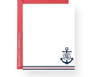 PRINTED - Set of 8 Nautical Anchor Monogram Notecards, Coastal Theme Custom Personalized Stationery - Any Color