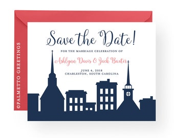 Charleston South Carolina Skyline Save the Date Downtown Charleston Silhouette Wedding Rehearsal Dinner Invitation by Palmetto Greetings