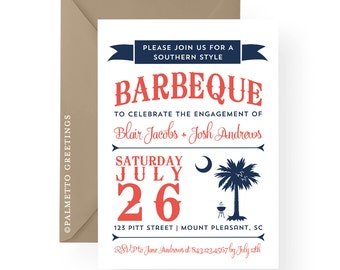 South Carolina Invitation Palmetto Moon, Chalkboard Style, BBQ, Engagement, Rehearsal Dinner, Birthday, Anniversary, Bridal Shower