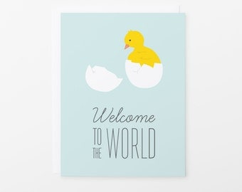 New Baby Card | Baby Chick Welcome to the World Greeting Card | Blue
