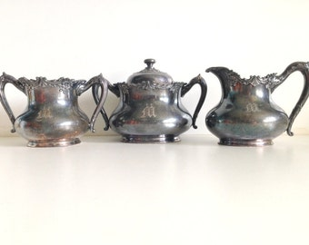 Vintage Reed & Barton Monogramed Silver Plated Coffee Tea Serving Set