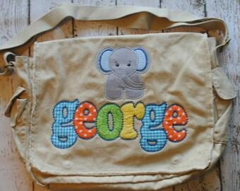 Tan Personalized Messenger Diaper Bag