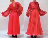 70s Vintage Evening Gown Dress Size Medium Beaded Pink // Vintage Beaded Draped Goddess Gown Size Small Medium Pink Fuchsia