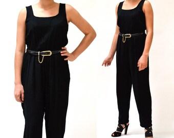 Vintage Black Jumpsuit Size Small Medium//  80s Vintage Black Jumpsuit Size Small Medium Tank Pantsuit