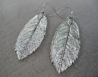 Silver Leaf Earrings - Boho Leaf Earrings - Silver Leaf Jewelry - Simple Everyday Silver Earrings