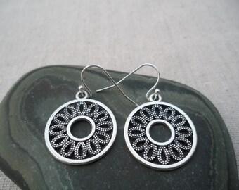 Silver Boho Flower Earrings - Silver Bohemian Drop Earrings - Simple Everyday Silver Earrings