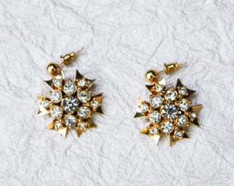 Vintage Gold & Rhinestone Cluster Starburst Earrings - Repurposed, Crystal, One of a Kind
