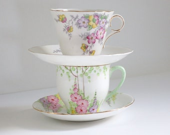 Vintage tea cups and saucers, Pair of wedding white teacup sets, Wedding Bridal Shower Brunch Table Decor,  Gifts for Her SwirlingOrange11