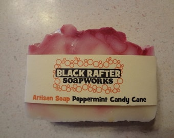 """Black Rafter SoapWorks """"Peppermint Candy Cane"""" Artisan Christmas Soap"""