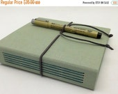 MOVING SALE Hardcover Sketch Book, Art Journal, Pale Seafoam with Suede Strap, In Stock
