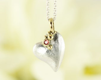 Bubbling heart modern silver and gold love pendant