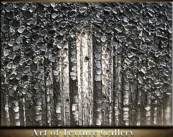 Abstract Painting Ready Big Oil Impasto Sculpture Texture Modern Black Gray Charcoal White Trees Palette Knife Original by Je Hlobik