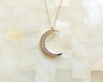 Gold CZ Crescent Moon Pendant on Gold Chain Necklace (N1735)