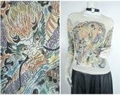 90s sheer nude flesh colored chinese dragon tattoo shirt