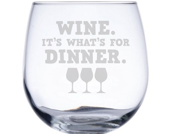 Stemless Red Wine Glass-17 oz.-7779 Wine. It's what's for Dinner.