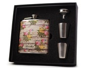 Personalized Womens Flask // Floral Covered Wood Siding Gift Flask
