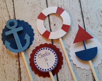 Nautical Cupcake Toppers. Set of 12 Cupcake Toppers. Life Preserver. Anchor. Sailboat. Nautical Birthday Party. Handmade Cupcake Toppers