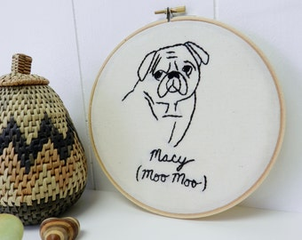 Personalized Pet Portrait. Valentine's gifts for Dogs. Cats. Gift for Dad. Embroidered Hoop Wall Art. Bulldog. Pet Memorial. Gifts for Him.
