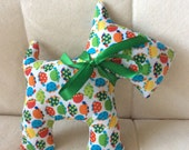 Stuffed Scotty Dog - bright colored turtles with green ribbon