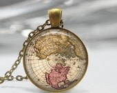 ON SALE Vintage Map Necklace Globe Jewelry Earth Old World Map Art Pendant in Bronze or Silver with Link Chain Included