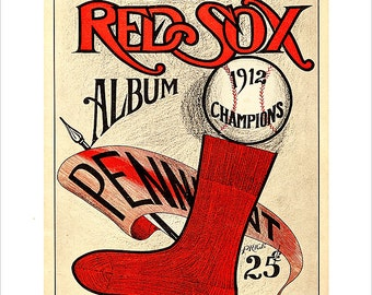 Boston Red Sox - 1912 Champions Yearbook cover print - 8x10, 11x14 or 16x20 - Vintage old time baseball print Boston Red Sox - Fenway Park